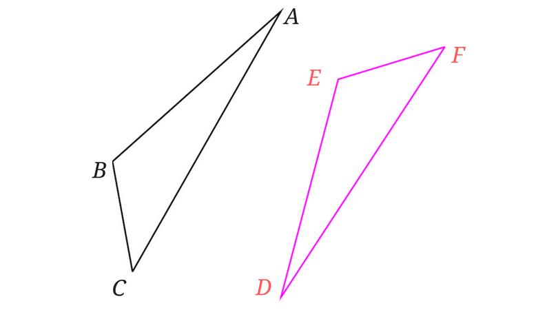 合同な三角形の1つを裏返した図