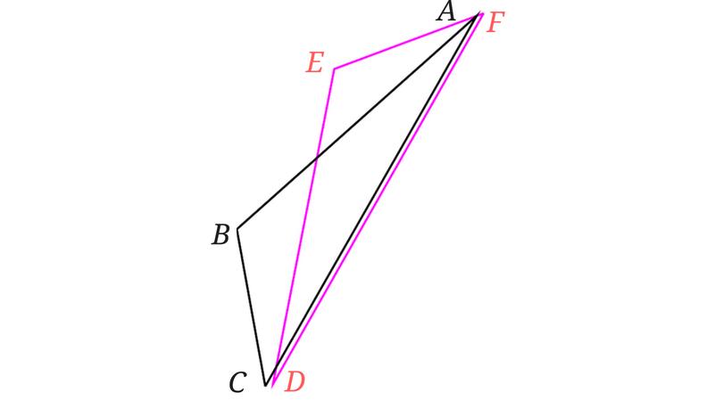 重ならないのに合同な三角形
